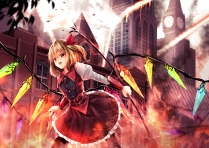 Konachan.com - 241341 blonde_hair building city dress flandre_scarlet hat red_eyes short_hair sinkai touhou vampire weapon wings