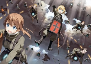 Konachan.com - 241447 blonde_hair boots brown_hair clouds gloves group kantoku male military scan short_hair sky tanya_degurechaff uniform youjo_senki