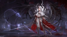 Konachan.com - 241512 boots fom_(lifotai) gray_hair long_hair original petals sword weapon wings yellow_eyes