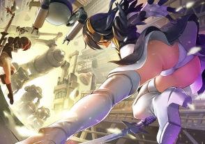 Konachan.com - 242194 2girls ass black_hair cosplay gloves headband jie_laite kemono_friends nier panties parody robot short_hair stairs sword underwear weapon