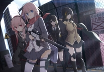 Konachan.com - 242277 black_eyes eyepatch group gun headphones hoodie kneehighs long_hair pantyhose pink_eyes pink_hair scarf seifuku skirt tie weapon