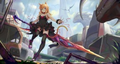 Konachan.com - 242703 blonde_hair breasts catgirl cleavage dress green_eyes long_hair original ruins see_through sonic0_0 sword thighhighs weapon