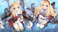 Konachan.com - 242802 2girls animal_ears bilan_hangxian blonde_hair bow bubbles drink gloves headband kisetsu long_hair purple_eyes scarf water