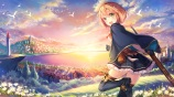Konachan.com - 243064 boots building city clouds flowers gloves green_eyes moemi_tobi original short_hair skirt sky sword thighhighs water weapon
