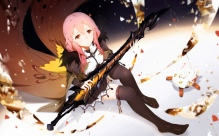 Konachan.com - 243309 cangkong guilty_crown long_hair pink_hair red_eyes skirt sword thighhighs weapon yuzuriha_inori